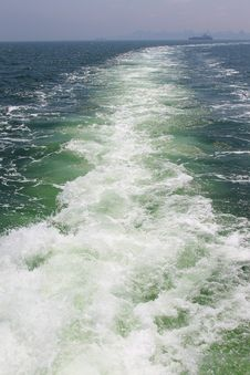 Free Water Footprint Of The Boat In Motion On The Sea Stock Photos - 20144663