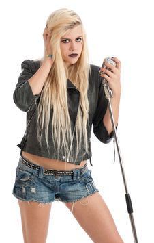 Free Sexy Young Blonde Female In Leather Jacket With Mi Stock Photography - 20144722