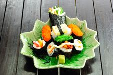 Closeup Japanese Sushi. Series Japanese Food Stock Photo