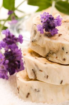 Free Handmade Soap With Lavender Flowers Royalty Free Stock Images - 20146259