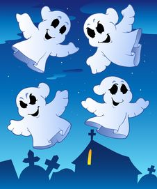 Free Four Ghosts Near Cemetery Royalty Free Stock Photo - 20146295