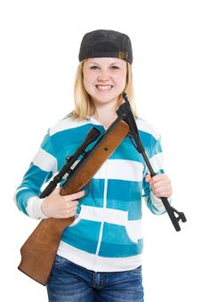 Free A Teenager With A Gun Royalty Free Stock Photography - 20146737