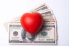 Heart And Dollars Stock Photos