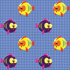Checked Pattern With Funny Fishes Stock Image