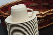 Free Stacked Brown Empty Teacups At A Function Stock Images - 20148704