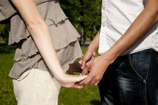 Husband And The Pregnant Wife Keep For Hands Royalty Free Stock Images