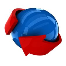 THE BLUE BALL WITH THE RED ARROW Royalty Free Stock Images