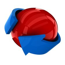 Free The Red Ball With The Blue Arrow Stock Photos - 20149253
