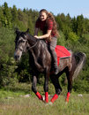 Free A Girl Riding A Horse At A Gallop Royalty Free Stock Image - 20150256