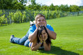 Free Two Young People On The Grass Royalty Free Stock Images - 20154869