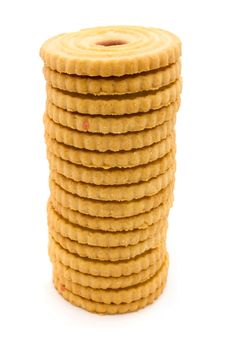 Towerof  Jam Filled Biscuits Over White Royalty Free Stock Photography