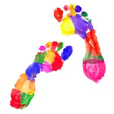 Free Multi Colored Footprints Stock Photos - 20151913