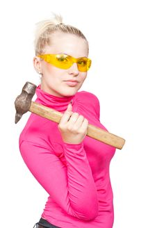 Free Beautiful Blonde In The Yellow Glasses And Hammer Royalty Free Stock Photos - 20151918
