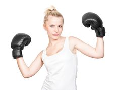 Free Beautiful Blonde Girl In Boxing Gloves Stock Photo - 20151920