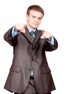 Businessman Pointing Fingers At Viewer Royalty Free Stock Photography