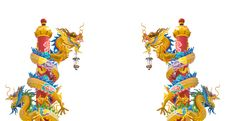 The Twin Dragon Pillar Statues On White Background Stock Photo