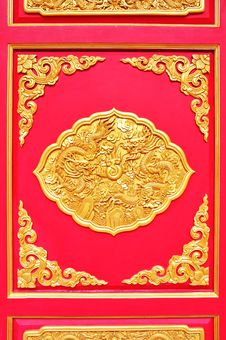 Free Golden Dragon Decorated On Red Wood Stock Photos - 20153533