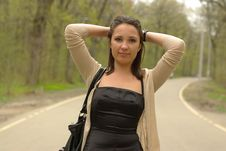 Free Girl On A Road Stock Images - 20153574