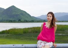 Free Asian Girl And Beautiful Landscape Stock Photos - 20153623