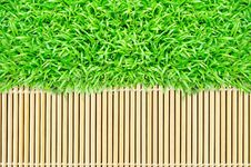 Free Grass Frame On Bamboo Texture Background Stock Photo - 20153740