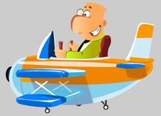 Free Happy Man In A Plane Stock Photography - 20154362