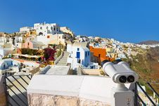 Binoculars And Santorini View (Oia), Greece Royalty Free Stock Photos