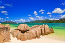 Tropical Island Curieuse At Seychelles Stock Photos