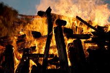 A Bonfire In The Evening Light Stock Images