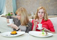 Free Two Young Women In Cafe Royalty Free Stock Image - 20155556