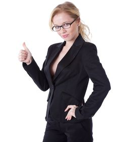A Smiling Businesswoman In Showing Stock Images