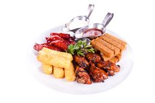 Free Dish Meal, Chicken, Sausage, Potatoes, Toast. Stock Photos - 20155823