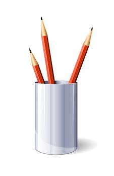 Free Red Vector Pencils In Glass Stock Photo - 20155890