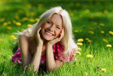 Free Girl On Dandelion Field Stock Photography - 20155932