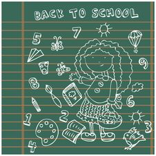 Free School Girl Background. Cartoon Icons Set Stock Photo - 20156580