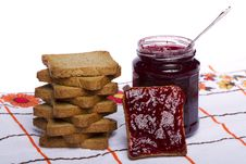 Free Toasted Bread With Jam Stock Photography - 20156972