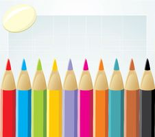 Free Colorful Pencils And Elastic Stock Photo - 20158890