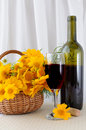 Free A Bottle Of Rose Wine With A Glass And Flowers Stock Images - 20164874