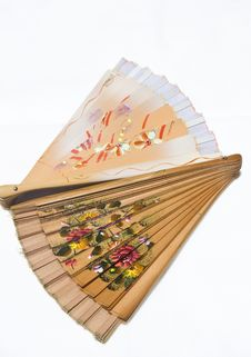 Free Two Folded Wooden Fans On White Royalty Free Stock Image - 20160126