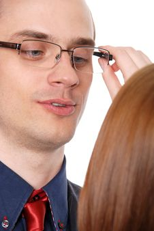 Free Young Woman Tries On Glasses To The Businessman Stock Photography - 20161852