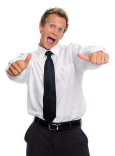 Free Excited Businessman With Thumbs Up Stock Image - 20162171