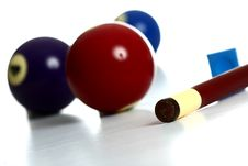 Free Pool Balls And Stick With Chalk Stock Photo - 20162780