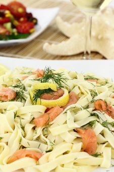 Free Pasta With Salmon Stock Photography - 20162912