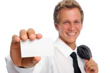 Free Successful Businessman Holding Empty Card Stock Image - 20163361