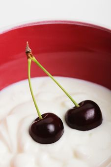 Cherry Yogurt In Stock Photos
