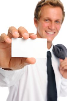 Free Successful Businessman Holding Empty Card Royalty Free Stock Photo - 20164385