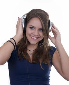 Free Smiling Girl With Headphones Stock Images - 20164544