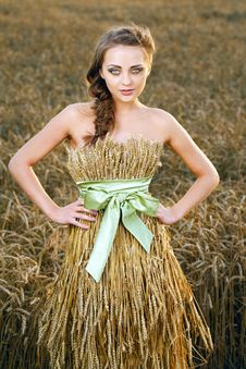 Woman In Wheat Field Royalty Free Stock Photography