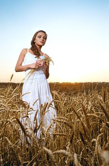 Free Woman In Wheat Field Stock Image - 20164671