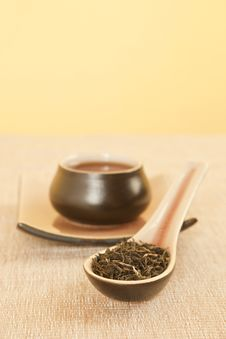 Free Black Tea On Spoon. Stock Image - 20168631