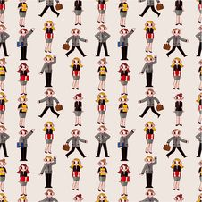 Free Seamless Cartoon Office Worker Pattern Royalty Free Stock Image - 20169896